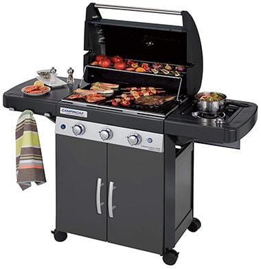 BBQ Grillwagen mit 3 Edelstahlbrennern und Seitenkocher